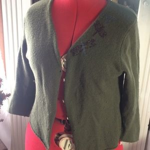 3/4 sleeve A&F Wool Embroidered Cardigan